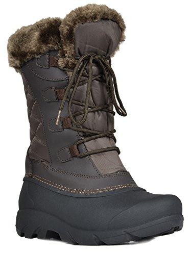 Paio Di Scarpe Da Donna North Faux Fur Mid-winter Stivali Da Neve Invernali Linx-brown