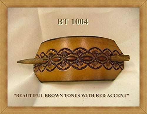 LEATHER PONYTAIL BARRETTE by American Handcrafte Belts Plus