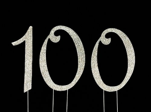 Large 100th Birthday Cake Topper with Sparkling Rhinestone Crystals - 4 1/2 -