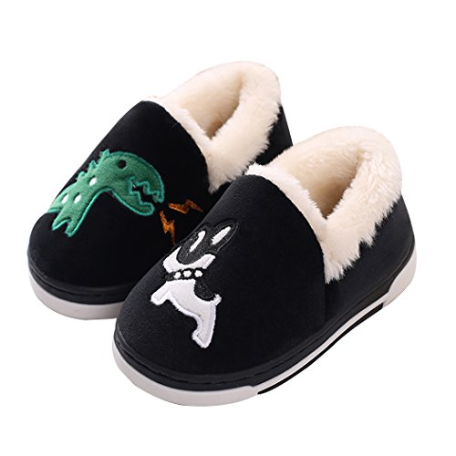 MiYang Winter Cute Dinosaur Slippers Adult Cartoon Winter Warm House Slippers Booties Black 6-7 B(M) US Adult
