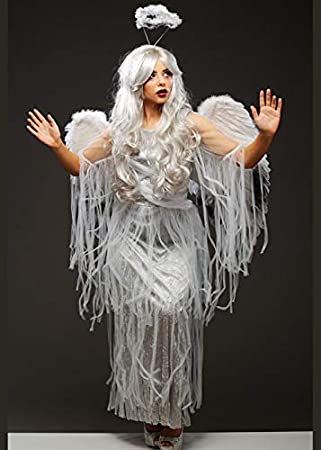 Magic Box Disfraz de ángel caído de Halloween para Mujer con alas ...