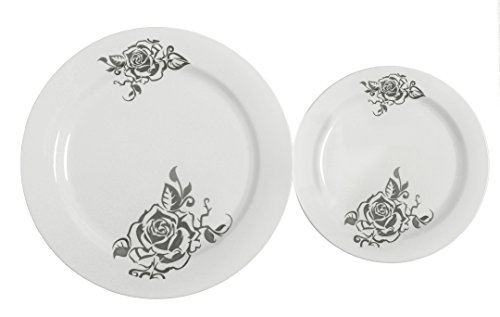 Table-To-Go-I-Cant-Believe-its-Plastic-50-Piece-Plate-Set-Includes-25-10-Inch-Dinner-Plates-and-25-75-Inch-Salad-Plates-Flower-Design