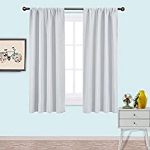 NICETOWN Solid Blackout Window Treatment - Energy Saving Thermal Insulated Curtains /Drapes For Bedroom (2 Panels,42 by 63,Platinum & Greyish White)
