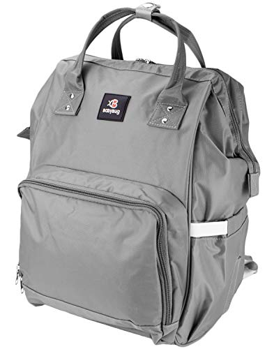Baby Backpack Diaper Bag - Large Durable and Multi-Functional by BabyBugCompany (Gray)