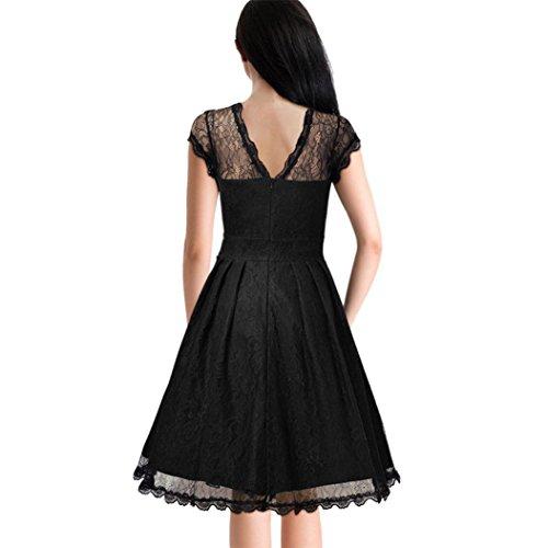 Vestir Moda, Tefamore La Sra El vestido de partido delgado de costura de encaje perspectiva Negro