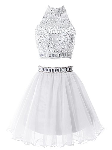 ALAGIRLS Two Pieces Short Homecoming Dress Beading Tulle Prom Dress White2