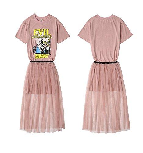 L de MiGMV pices Pink d'impression la d'tudiant Costume Robe Deux Moyenne Taille Robes Longue Nette Gaze Robe 7ncwcZxOB