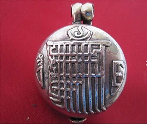 Large Tibetan Delicately Carved Kalachakra Double Dorje Ghau Prayer Box Pendant #ID-393 ()
