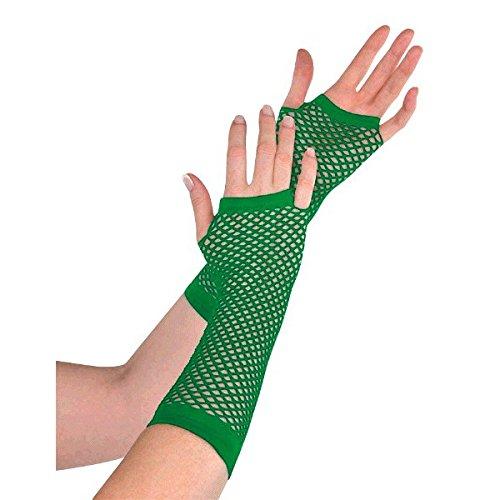 amscan Fishnet Glove Accessory, Green, Nylon, 9