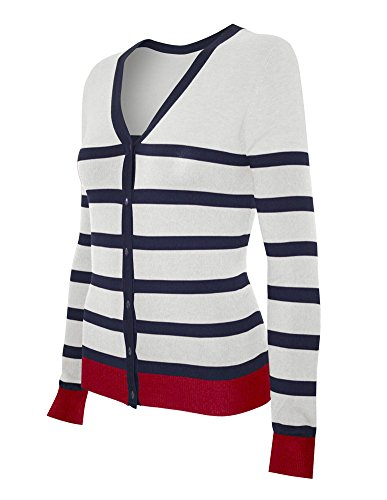 Cielo Women's Knit Silk Soft Cardigan Sweater, V-neck (Small, SW340 White/Navy/Red)