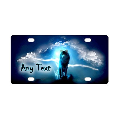 y Text License Plate - Glitter Blue Wolf Car Tag - Custom Monogram Novelty Metal Front License Plate Covers For Car 12 inch X 6 inch ()