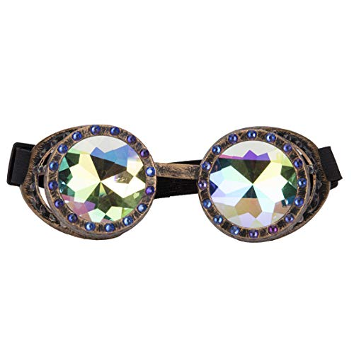 079b0ee6ea20 Festival Steampunk Rave Glasses Kaleidoscope Goggles with Rainbow Crystal  Lens -