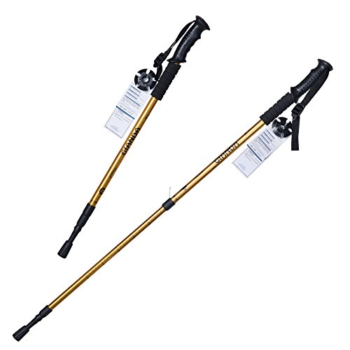 Elaine'Store Trekking Poles Non-slip Waterproof Adjustable Retractable Anti-Shock Durable Aluminum Walking Hiking Climbing Sticks for Outdoor Sport Cross-country Travel - 1 Pair (golden)