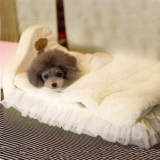 Flying Colourz LAGERLUFT süße Abnehmbare Princess Style Lace Schlafen Bett für Hund Katze Haustier Creme
