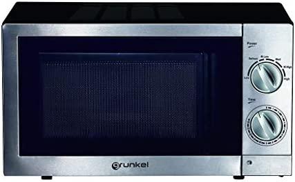 Grunkel - Microondas de 20 litros de capacidad en acero inoxidable y 700W. 6 niveles de potencia, función descongelación y temporizador hasta 30 ...