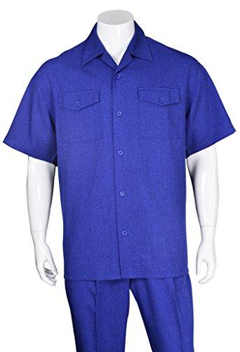Fortino Landi Men's Spring / Summer casual 2pc solid short sleeves walking suits