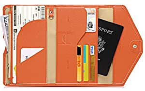 Zoppen Multi-Purpose RFID Blocking Travel Passport Wallet (Ver.4) Tri-fold Document Organizer Holder, 24 Orange