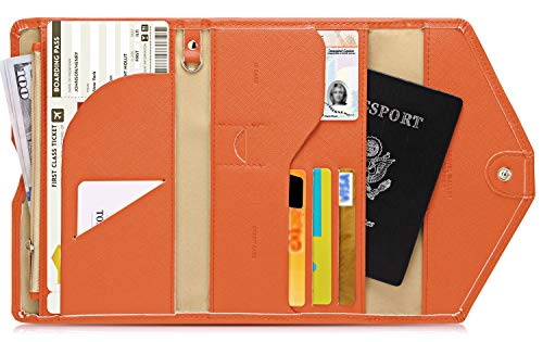 Zoppen Multi-purpose Rfid Blocking Travel Passport Wallet (Ver.4) Tri-fold Document Organizer Holder, 24 Orange (Case Orange Accessory)