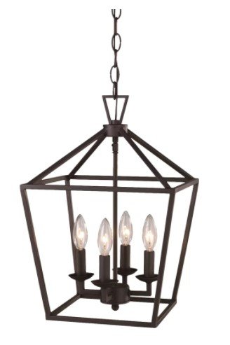 Carmen 4-Light Pendant, Foyer/Lantern Pendant, Led Bulb 60 Watts Pyramid Shade, 8Lb., 5
