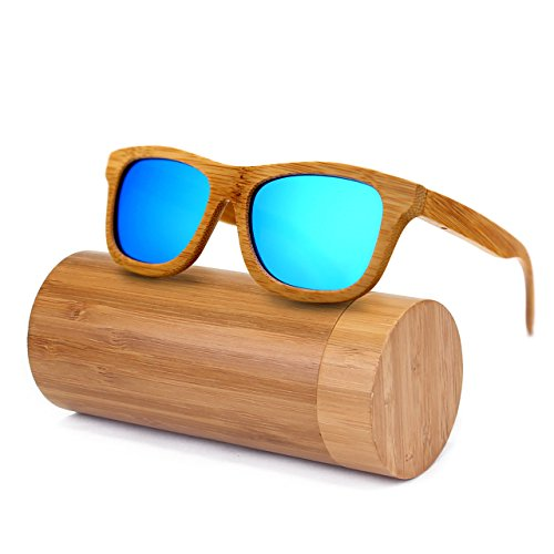 6a1017a567a Ynport Mens Womens Polarized Full Charcoal Bamboo Frame Classic Wooden  Coated Sunglasses
