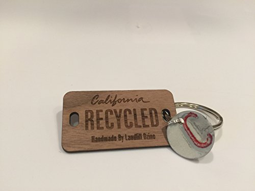 (Recycled License Plate Key Chains - White Letter A (C, WHITE AND RED))