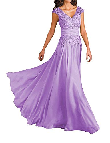 - Chiffon Mother of The Bride Dresses Long Evening Gowns Lace Prom Party Dress V-Neck Maxi US 30W Lilac