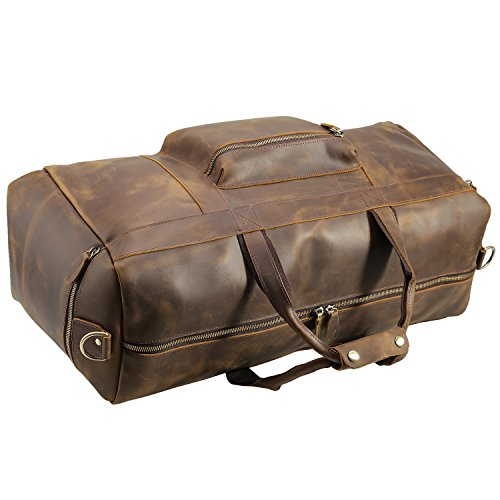 Texbo Men's Thick Cowhide Leather Vintage Big Travel Duffle Luggage Bag (Brown X Large 25'') by Texbo (Image #3)