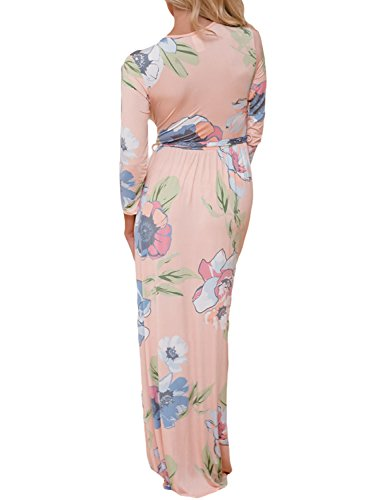 Maxi Tie 10 Waist Pink Dress Women Neck Wrap S AlvaQ XXL Printed Floral V 1XRAH