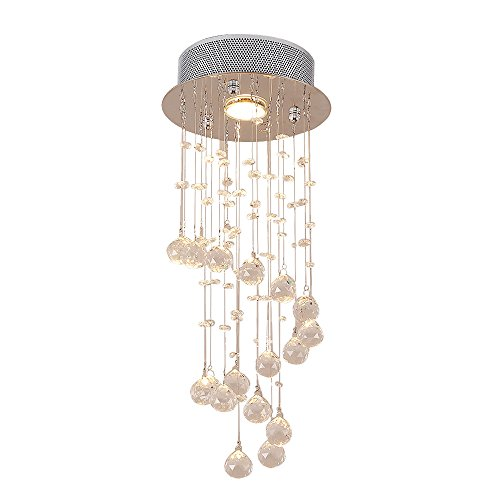Lightess Crystal Chandeliers 1-Light Flush Mount Ceiling Lights Modern Pendant Light Fixture for Living Room Dining Room Bedroom Office, DY-A19
