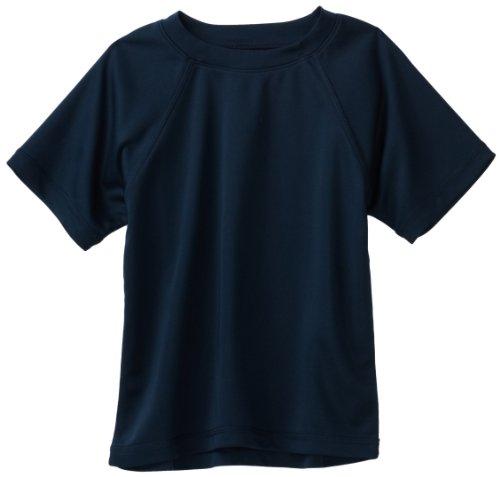Kanu Surf Toddler Boys' Short Sleeve UPF 50+ Rashguard Swim Shirt, Solid Navy, 3T -