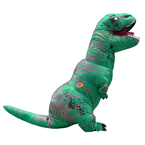 Adult Inflatable Jurassic Dinosaur T-rex Fancy Costume Green for Halloween Party