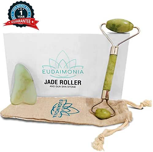 Eudaimonia Jade Roller and Gua Sha Massage Tools II Organic Natural Jade Stone II Jade Facial Massage Roller for Slimming, Firming, Lifting II Remove Wrinkles, Puffiness, Rejuvenate Skin for Women II