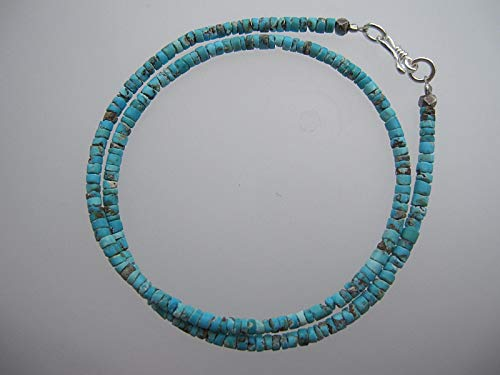Tribe Silver 3mm (Double strand Afghan Turquoise seed beads Bracelet,Size 3 mm, Karen Hill Tribe Silver Clasp,Custom size 13,14,15,16 inches)