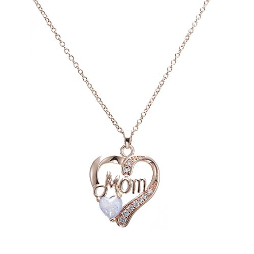 (Heart Pendants Necklace for Women -MOM Chain Necklace Jewelry with Heart Shape Opal Stone (Rose)