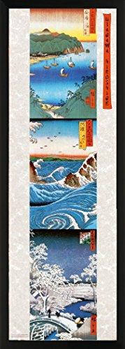 E Utagawa Ando Hiroshige Triptych Decorative Fine Japanese Art Poster Print (Framed 12 x 36 Print)