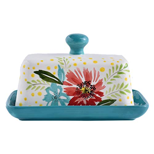 Ceramic Butter Dish with Lid, Wisenvoy Hand Painted Flower Design Butter Keeper with Handle For Kitchen Storage & Decor or Gift Idea, Jade Green (Ceramic Dishes Flower)