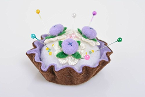 - Beautiful handmade textile soft felt pin cushion Cake with Berries craft supply