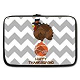 15.6 Inch Laptop / Notebook Computer / Sleeve Case Bag Cover With Funny Turkey With Grey And White Chevron Happy Thanksgiving Image- Water Resistant Neoprene (Twin Sides)