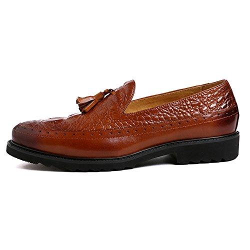 Santimon Hombres Penny Loafers Slip On Tassel Cuero De Cocodrilo Zapatos Marrón
