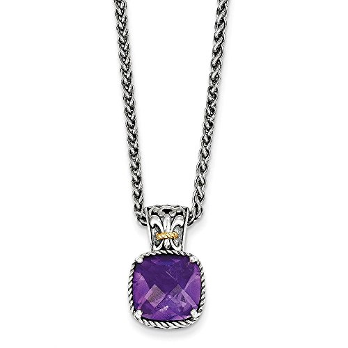 - Mireval Sterling Silver Two-Tone Accent Fleur-De-Lis Simulated Amethyst Pendant Necklace, 18