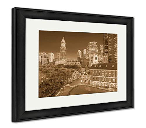 Ashley Framed Prints Boston, Massachusetts, USA Downtown Markets and Cityscape at Twilight, Wall Art Home Decoration, Sepia, 34x40 (Frame Size), Black Frame, AG32784011
