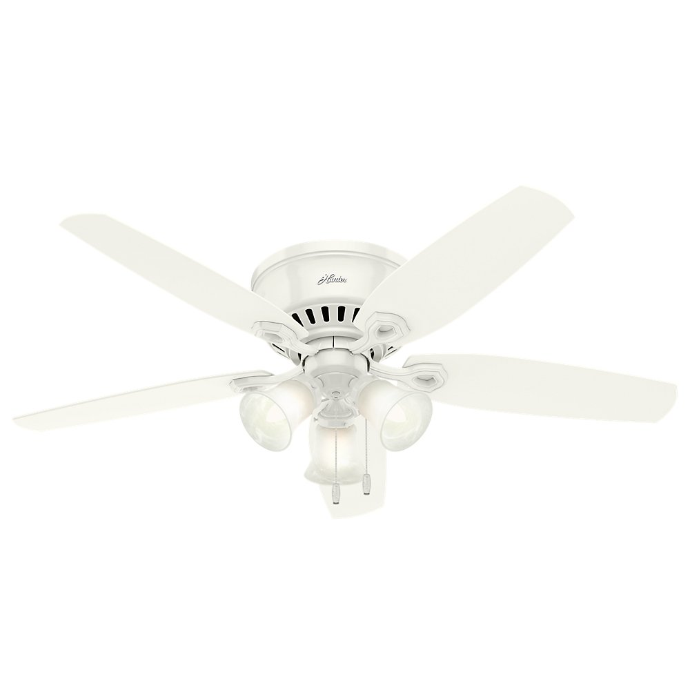 Hunter Indoor Low Profile Ceiling Fan, with pull chain control – Builder 52 inch, White, 53326