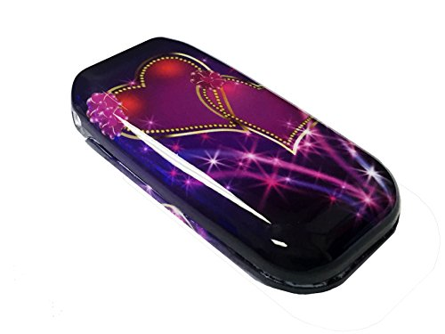 For LG Revere 3 VN170 Envoy 3 UN170 Hard Snap on Protector Phone Cover Case + Happy Face Phone Dust Plug (Purple Heart)