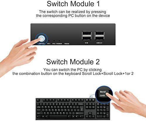 PW-S7201H2 HDMI KVM Switch 2 Port Soporte Dual Monitor 4K@30Hz Y ...