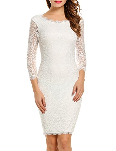 ACEVOG Women Ladies Package Hip Knee Length Floral Lace Pencil Party Dress (X-Large, White)