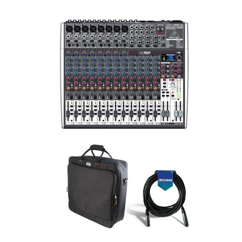 Behringer XENYX X2222USB Premium 22-Input 2/2-Bus Mixer with XENYX Mic Preamps and Compressors, British EQs - Bundle with Gator Cases Padded Nylon Mixer/Equipment Bag, 20' 7mm Rubber XLR Mic Cable