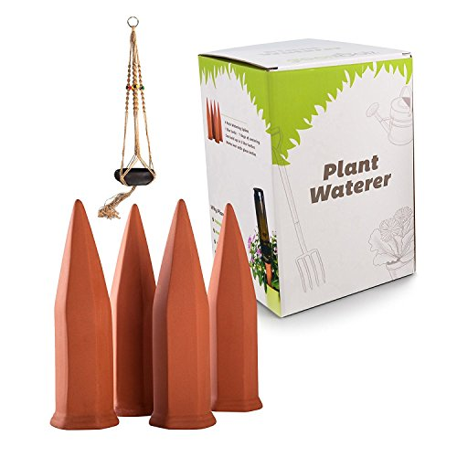 Terracotta Plant Watering Spikes 4 Pack Set,