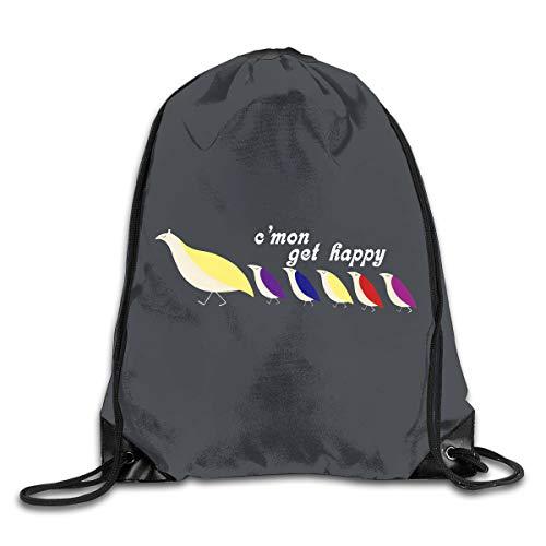 Drawstring Backpack Portable Travel Daypack Gym Bag Happy Partridge Family (Bag Family Shopping Partridge)