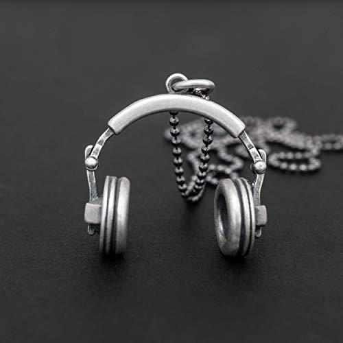 925 sterling silver necklace for men pendant for men necklace headphones necklace earphones necklace music jewellery men…