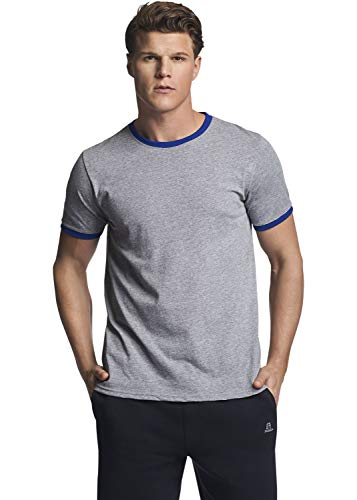Russell Athletic Men's Essential Cotton Ringer T-Shirt, Oxford/Royal, XXL ()